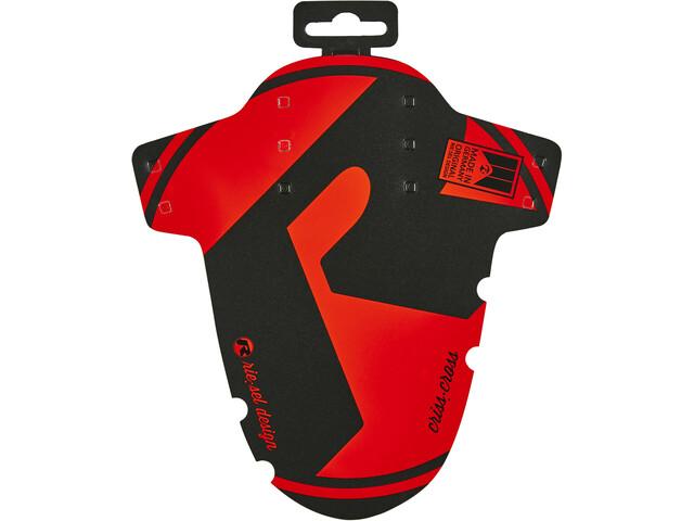 """Riesel Design criss:cross Guardabarros delantero 28"""", negro/rojo"""